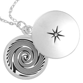 Black And White Swirls Silver Plated Necklace