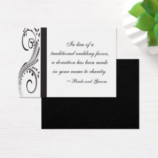 Black and White Swirls Wedding Charity Favor Card