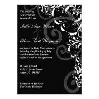 Black and White Swirls Wedding Invitation