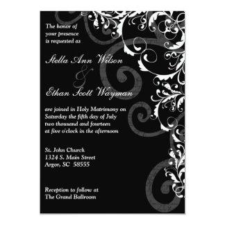 "Black and White Swirls Wedding Invitation 5"" X 7"" Invitation Card"