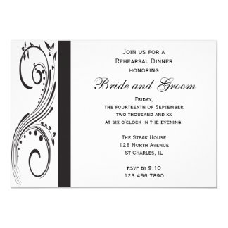 Black and White Swirls Wedding Rehearsal Dinner Card