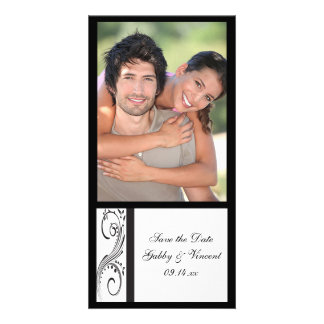 Black and White Swirls Wedding Save the Date Card