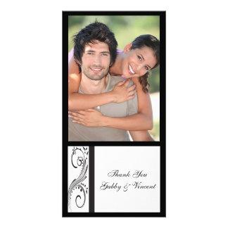 Black and White Swirls Wedding Thank You Card