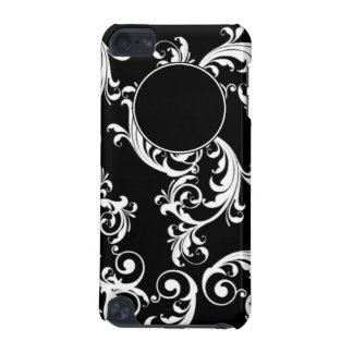 BLACK AND WHITE SWIRLS WITH MONOGRAM iPod TOUCH 5G CASE