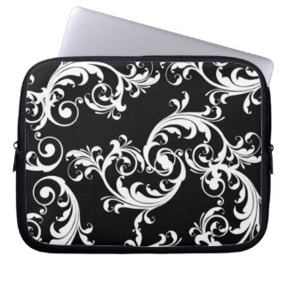 BLACK AND WHITE SWIRLS WITH MONOGRAM LAPTOP SLEEVE