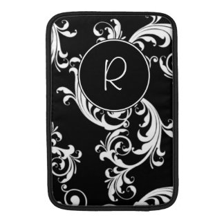 BLACK AND WHITE SWIRLS WITH MONOGRAM SLEEVE FOR MacBook AIR