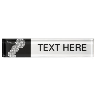 black and white swirly lights neat abstract desk name plate