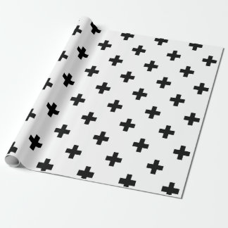 Black and White Swiss Cross Pattern Wrapping Paper