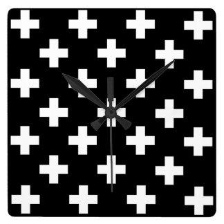 Black and White Swiss Cross Wall Clock
