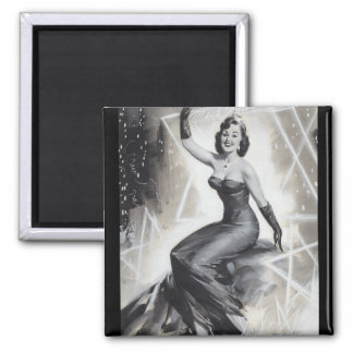 Black and White Sylvania Pin Up Art Magnet