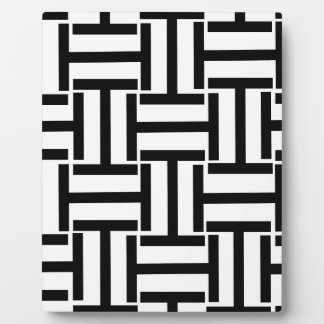 Black and White T Weave Plaque