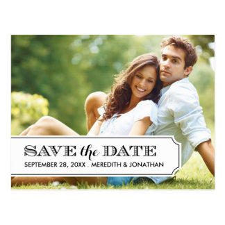 Black and White Tab Modern Photo Save the Date Post Card
