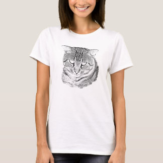 Black and White Tabby Cat Sketch Shirts