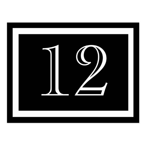 Black and White Table Number Cards Postcards