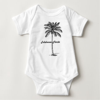 Black and White Tallahassee & Palm design Baby Bodysuit