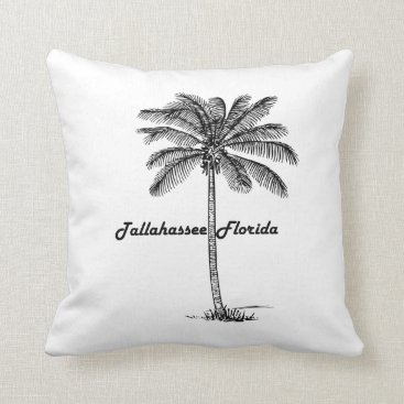 USA Themed Black and White Tallahassee & Palm design Throw Pillow