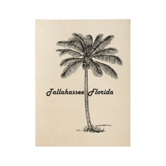 Black and White Tallahassee & Palm design Wood Poster