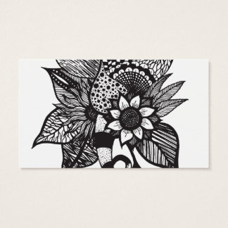 Black and White Tangle Floral Hand Drawings Business Card