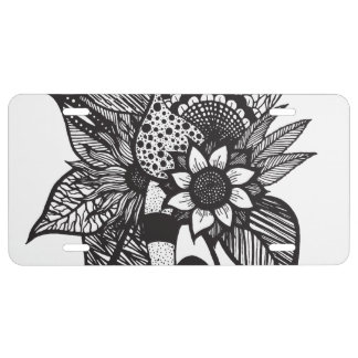 Black and White Tangle Floral Hand Drawings License Plate