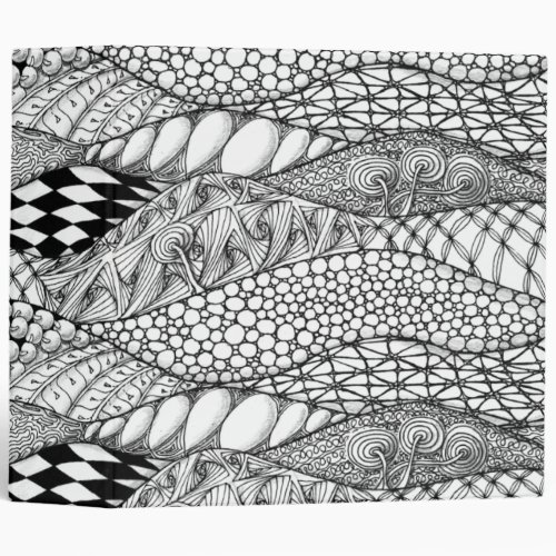 Black and White Tangled Mountains 3 Ring Binder