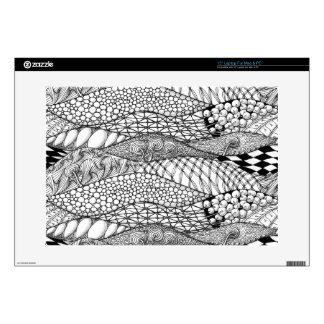 """Black and White Tangled Mountains Decal For 15"""" Laptop"""