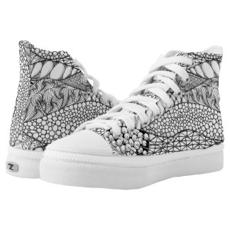 Black and White Tangled Mountains High-Top Sneakers