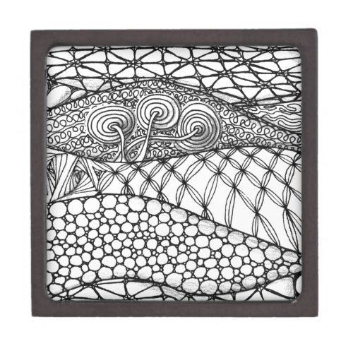 Black and White Tangled Mountains Jewelry Box