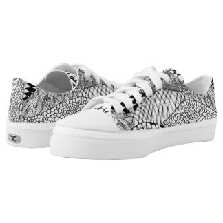 Black and White Tangled Mountains Low-Top Sneakers