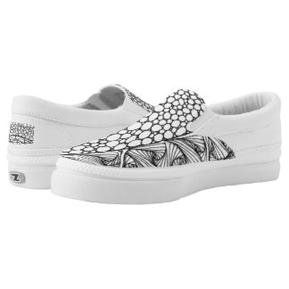 Black and White Tangled Mountains Slip-On Sneakers