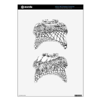 Black and White Tangled Mountains Xbox 360 Controller Decal
