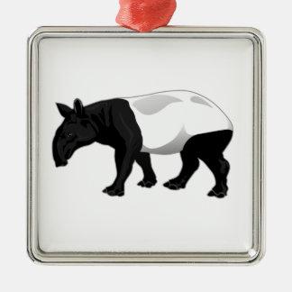 Black and White Tapir Metal Ornament