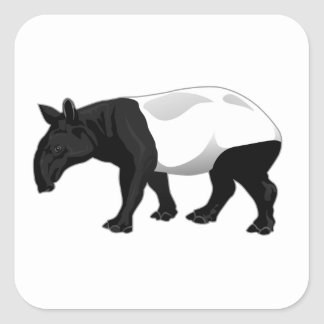 Black and White Tapir Square Sticker