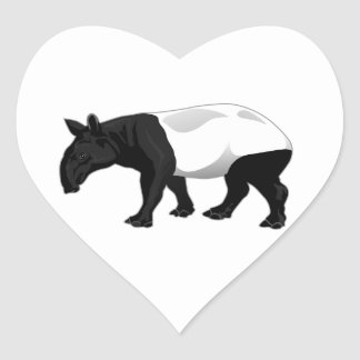 Black and White Tapir Heart Stickers