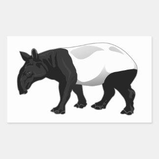 Black and White Tapir Rectangle Sticker