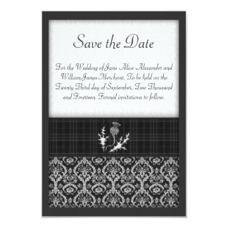 Black and White Tartan and Damask Save the Date 3.5x5 Paper Invitation Card