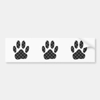 Black And White Tartan Dog Paw Print Bumper Sticker