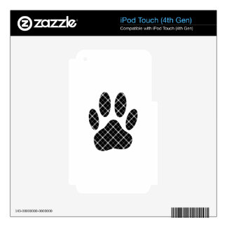 Black And White Tartan Dog Paw Print iPod Touch 4G Decals