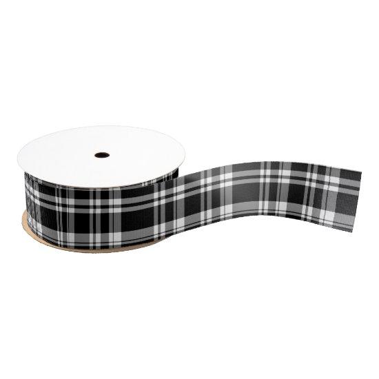Black and white tartan plaid pattern grosgrain ribbon