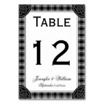 Black and White Tartan Plaid Wedding Table Number
