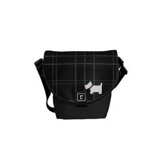 Black and White Tartan Plaid with Scottie Dog Courier Bag