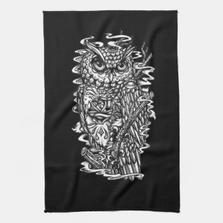 Black and white tattoo style owl illustration. towel
