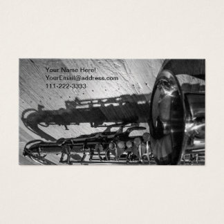 Black and White Tenor Saxophone Business Card