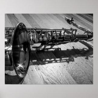 Black and White Tenor Saxophone Poster