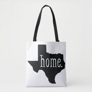 Black and White Texas State Home Tote Bag