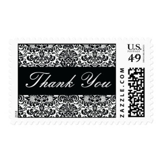 Black and White Thank You Damask Postage