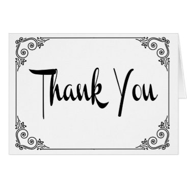 Professional Business Black And White Thank You Heart Notecard