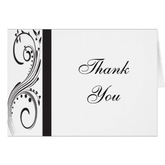 Black and White Thank You Note Card