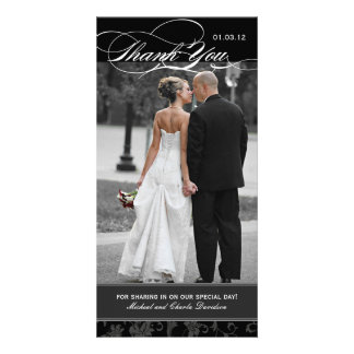 Black and White Thank You Photo Card (4x8)