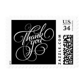 Black and White Thank You Postage Stamp