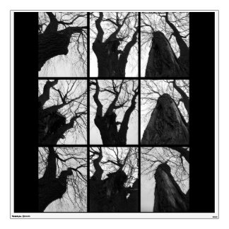 Black and white. The tree Wall Sticker
